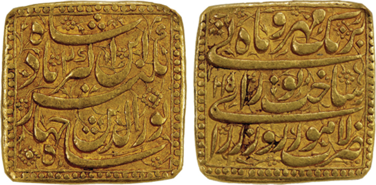 A beautiful square heavy mohur of the Mughal Empire under Jahangir. Both round and square heavy mohurs were struck during the first six years of his reign, replaced by standard weight rupees and mohurs during year 6. This is one of the best examples you will find. It realized $26,180 with buyer's fee.