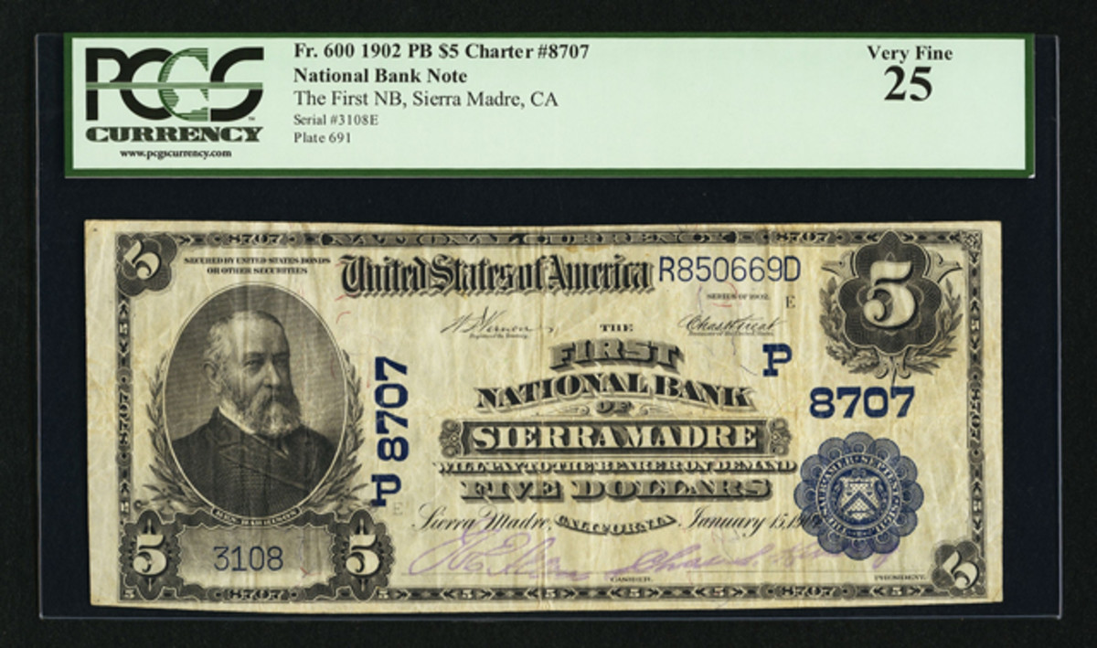 A Plain Back $5 from The First National Bank of Sierra Madre, Calif. is a discovery note.