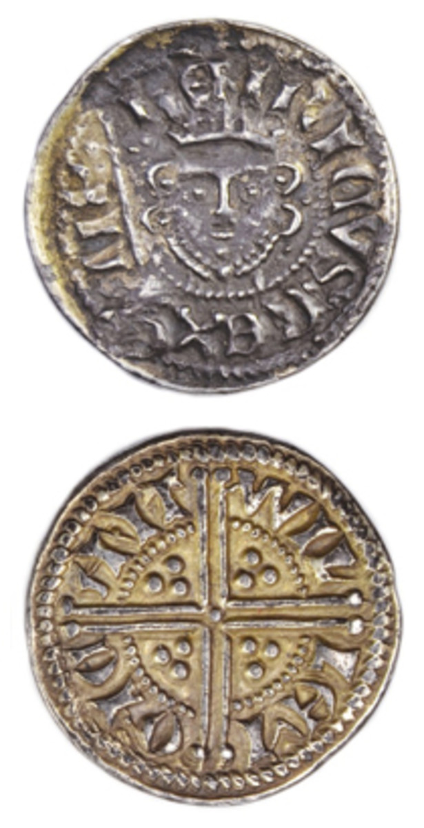 Obverse and reverse of a possibly unique double silver penny of Henry III that is being offered for sale by Coincraft for £24,500 [$32,120]. (Images courtesy Coincraft.)