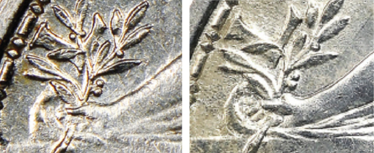 """At left, pattern olive branch through the """"L."""" At right, standard issue olive branch brushes bottom of """"L."""""""