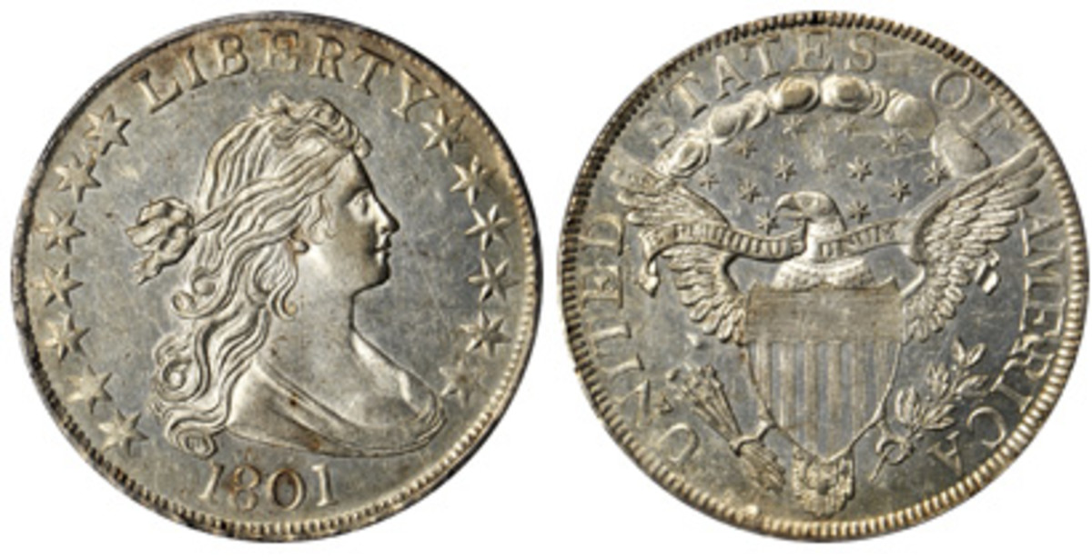An 1801 Bust half dollar was not far behind in the high stakes Baltimore bidding, bringing $70,500.