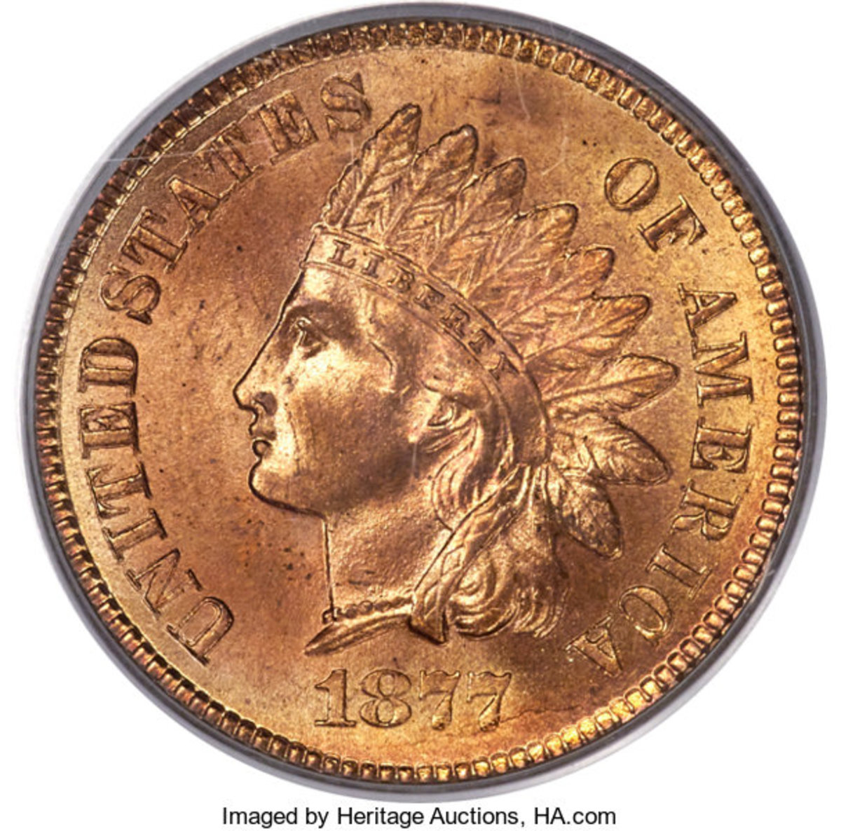 From the Castle Collection, an 1877 Indian Head Cent, MS-66 Red.  This example is tied for the finest known of this key issue. (Image courtesy of Heritage Auctions)