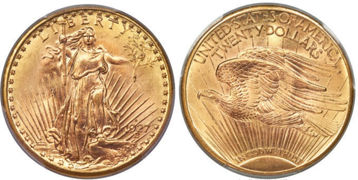 A 1927-D double eagle gold coin graded MS-65+ highlighted Heritage's FUN Signature Auction when it hammered at $2,160,000.