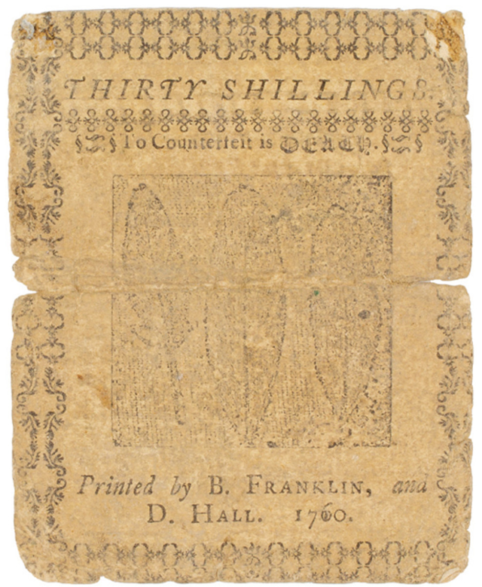 A Delaware 30-shillings note printed by Franklin and Hall, 1760. Image courtesy of the American Antiquarian Society.
