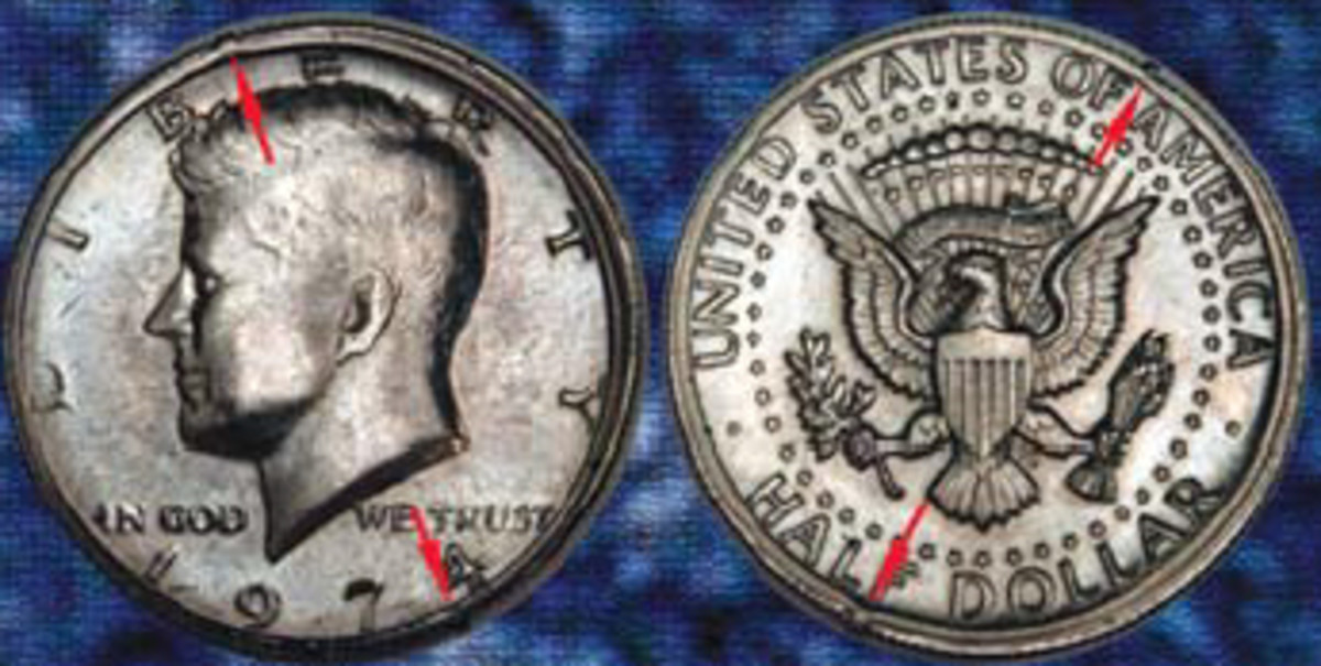 A Double Collar Cud is difficult to find. Though it is worth just $100, it took the author seven or eight years to find one on a 1974 Kennedy half dollar.