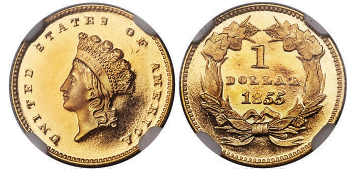 An 1855 Type Two gold dollar graded PR-66+ is the fines of seven confirmed examples. It found a new home for $336,000.