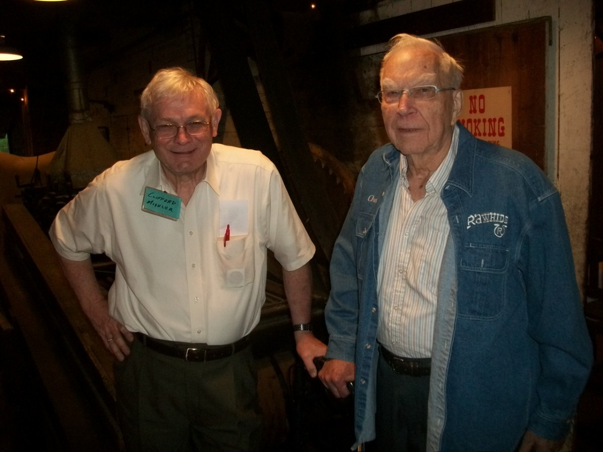 Mr. Chet Krause, right, with Clifford Mishler in a photo taken last year. (Courtesy John and Nancy Wilson.)