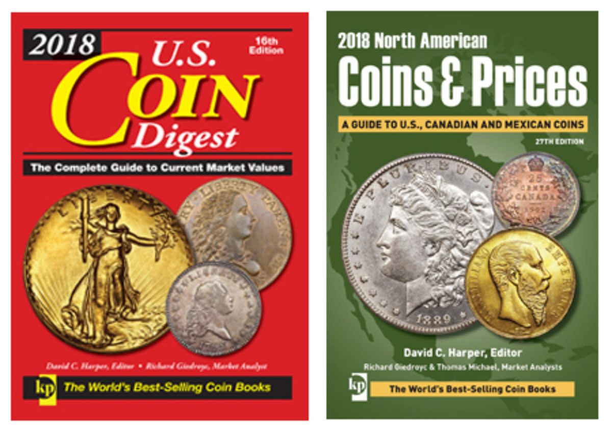 """Buyers of new books can look for the 2018 edition of """"U.S. Coin Digest,"""" which is just U.S. coins, or """"North American Coins and Prices,"""" which includes Canada and Mexican issues as well."""