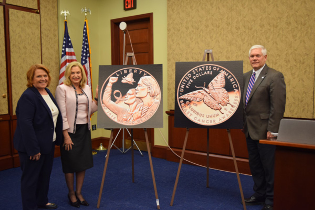 Three members of Congress attend a March 15 ceremony in Washington, D.C., to launch the Breast Cancer Awareness commemoratives. Left to right, Sen. Heidi Heitkamp, D-N.D., Rep. Carolyn Maloney, D-N.Y., and Rep. Pete Sessions, R-Texas. (U.S. Mint photo by Sharon McPike)