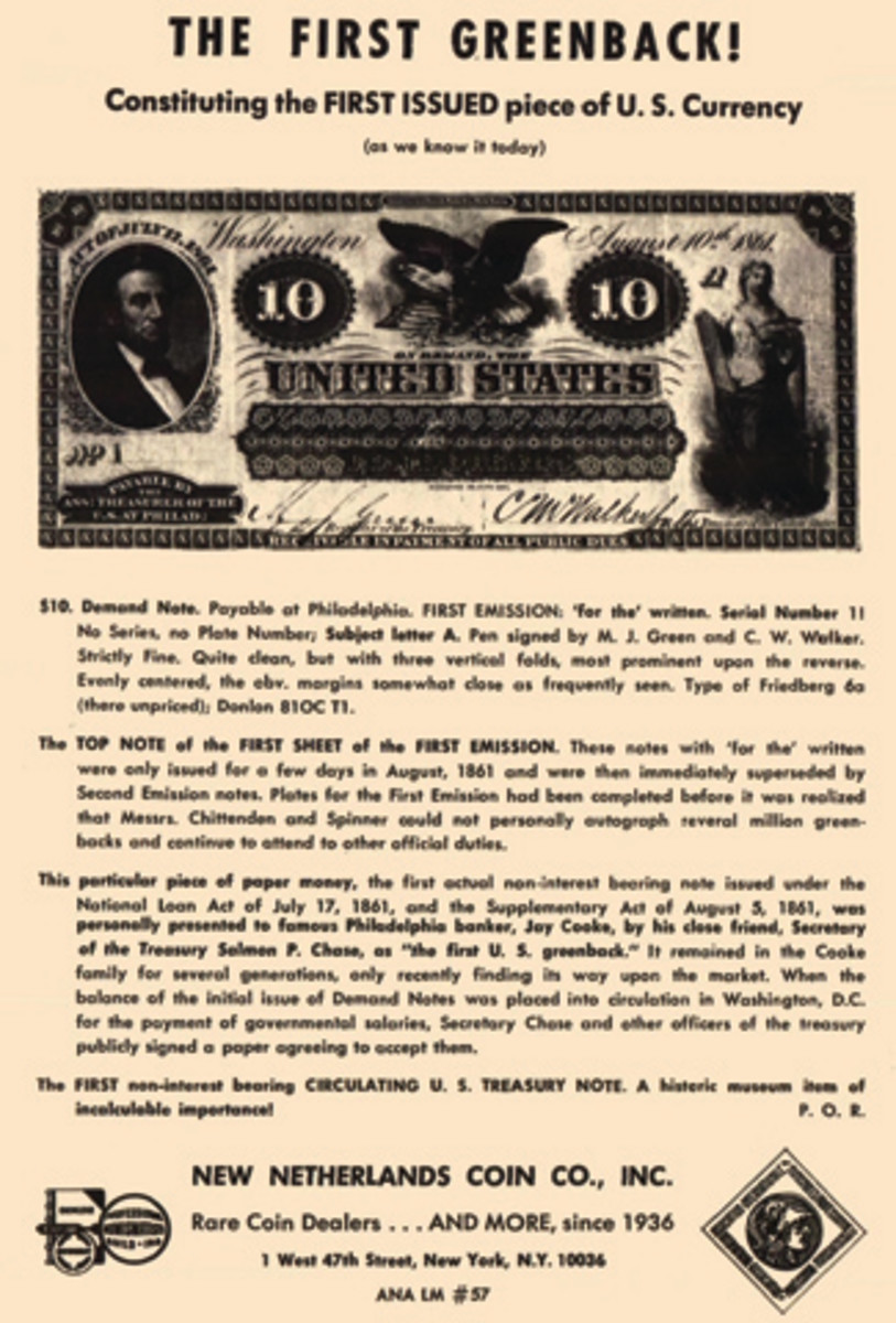 Offering of the $10 Demand Note in the January 1971 issue of 'The Numismatist.'