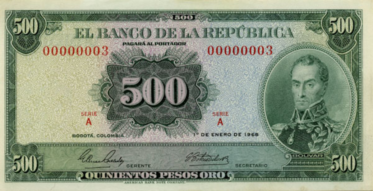 Columbian Banco de la República 500 peso oro, P-411a, dated 1 January 1968, with desirable serial 00000003. It will be offered by Stack's Bowers as part of their ANA sale in PMG Choice About Uncirculated 58 EPQ. (Image courtesy and © Stack's-Bowers, www.stacksbowers.com)