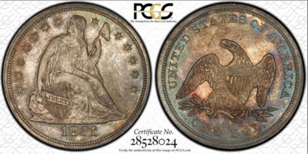 This 1851 Seated Liberty silver dollar, part of the Hall of Fame Collection recently sold to a billionaire, is graded by PCGS as MS-65 and was once part of the legendary Norweb Collection. (Image courtesy www.pcgs.com)