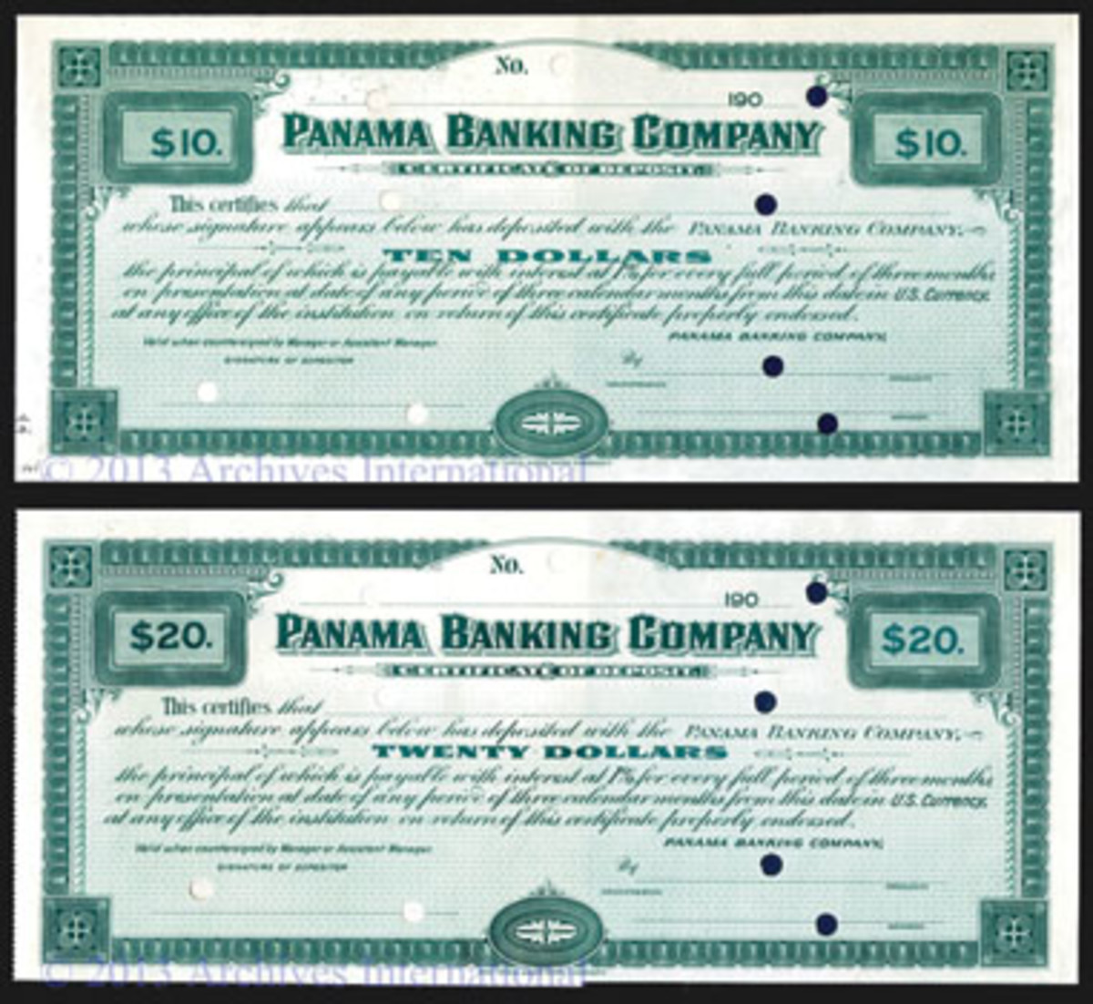 Two of the four Panama Banking Co. Certificates of Deposit for $10, $20, $50 and $100 payable in U.S. dollars able to serve as circulating currency in the Canal Zone. The four come PMG graded: Gem Uncirculated 66 EPQ, Choice About Uncirculated 58, Choice Uncirculated 64, and Choice Uncirculated 64, respectively.