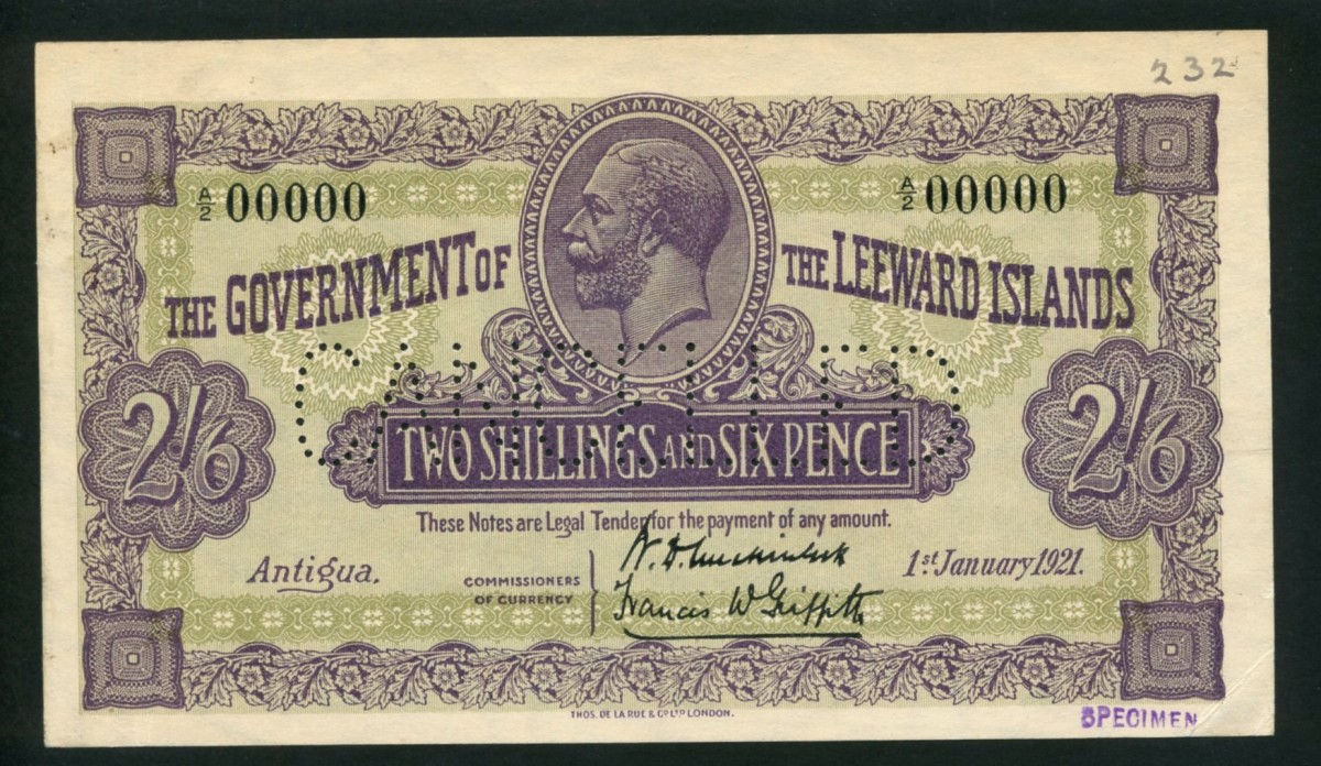 Leeward Islands specimen two shillings and six pence of Jan. 1, 1921, that took four times its upper estimate reaching $50,736.