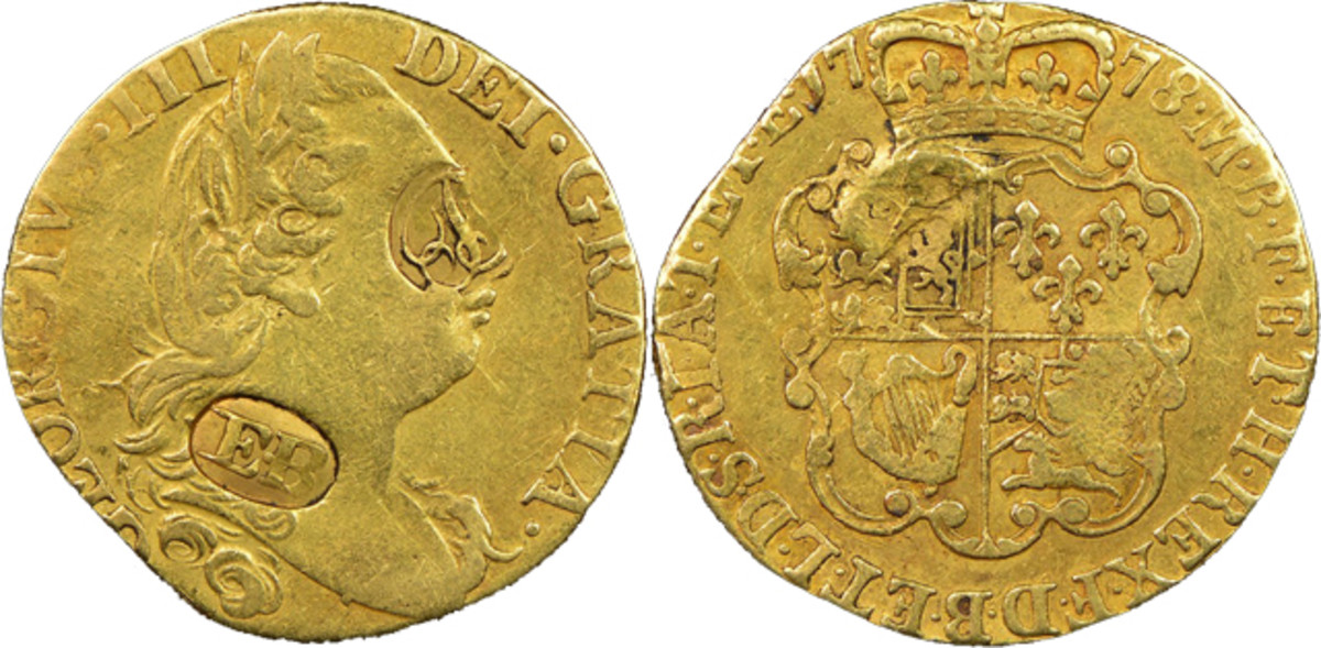 A 1778 Great Britain Guinea hallmarked by famous coiner Ephraim Brasher.
