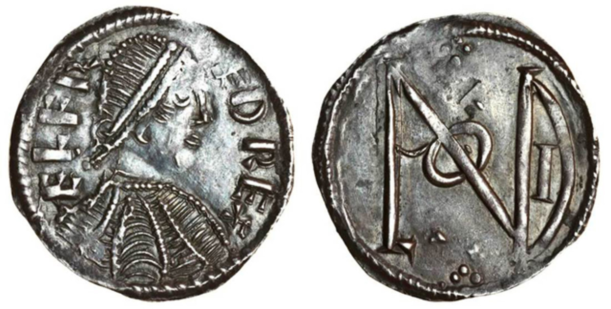 Alfred the Great penny showing the Londonia monogram on the reverse, c.880-85. It sold for $15,228 in VF. Image courtesy and © Spink London.