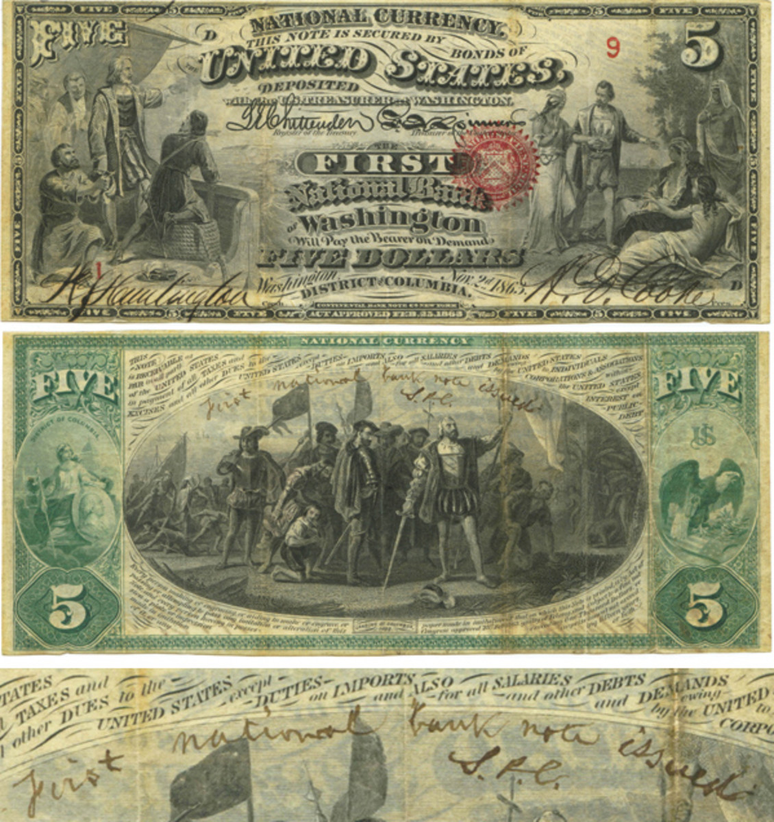 """Bottom note from the first sheet of $5 National Bank Notes, Treasury sheet serial 9—the first Treasury serial used, bank sheet serial 1, plate position D with Chase's handwritten """"First national bank note issued, S. P. C."""" on the back. (Photo courtesy of Mark Hotz)"""