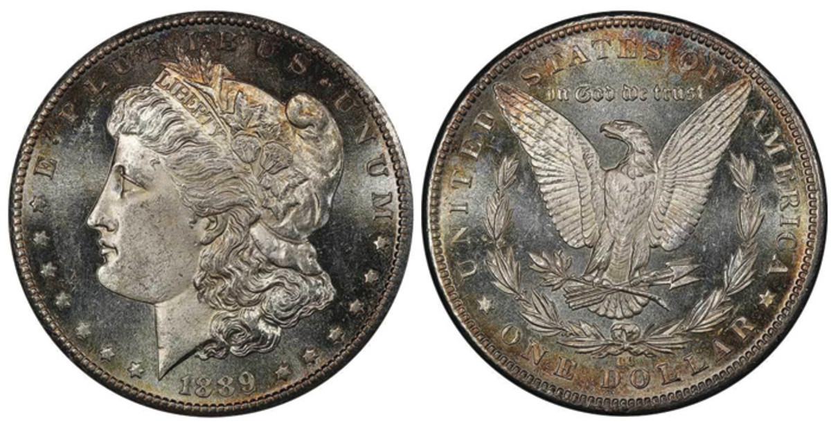 Lot 407. $1 1889-CC PCGS MS63+ PL CAC.  A major key Morgan dollar and one of the rarest in Mint State Grades, this lot is estimated to sell for $45,000+.