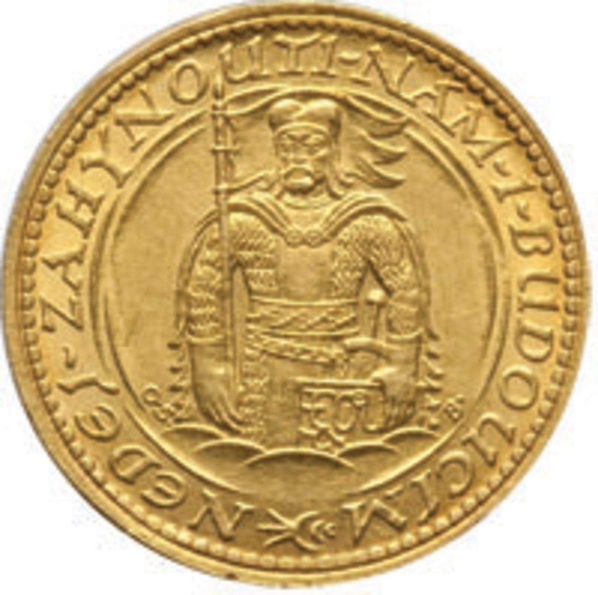 Wenceslas, Duke of Bohemia, fronts on the reverse of the first golden dukát struck by Czechoslovakia at the Kremnica Mint in 1923 (KM-8). (Image courtesy www.ha.com)