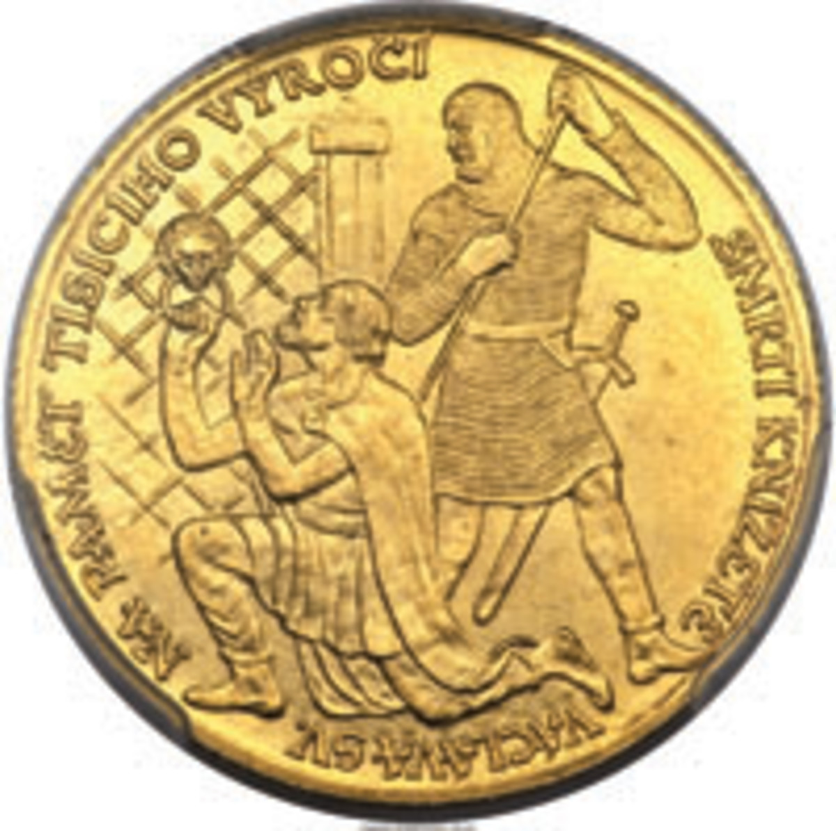 'Murder most foul' and on church steps no less. Wenceslas is assassinated with a lance by his brother Boleslaus the Cruel on the obverse of this medallic gold 3 dukátu struck in 1929 (KM-XM10). (Image courtesy www.ha.com)
