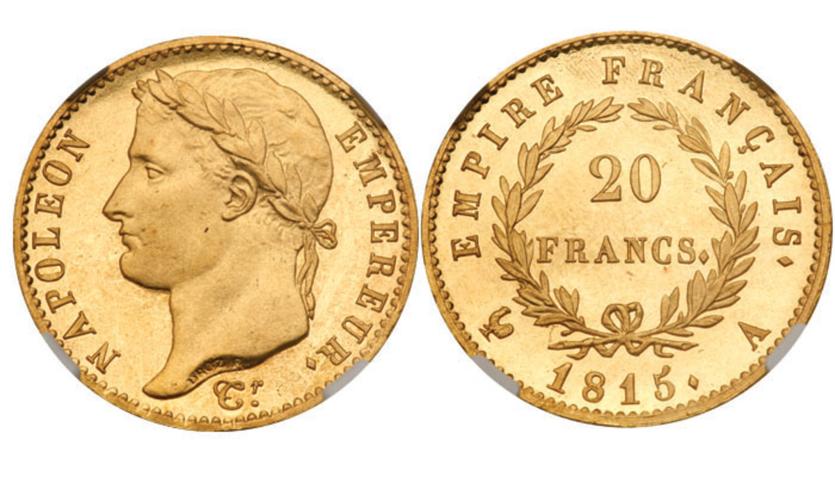 One of the most famous figures in French history, Napoleon, is depicted on this rare proof 1815 gild 20 Francs coin. Image courtesy of Lyle Engelson/ Goldberg Coins & Collectibles.
