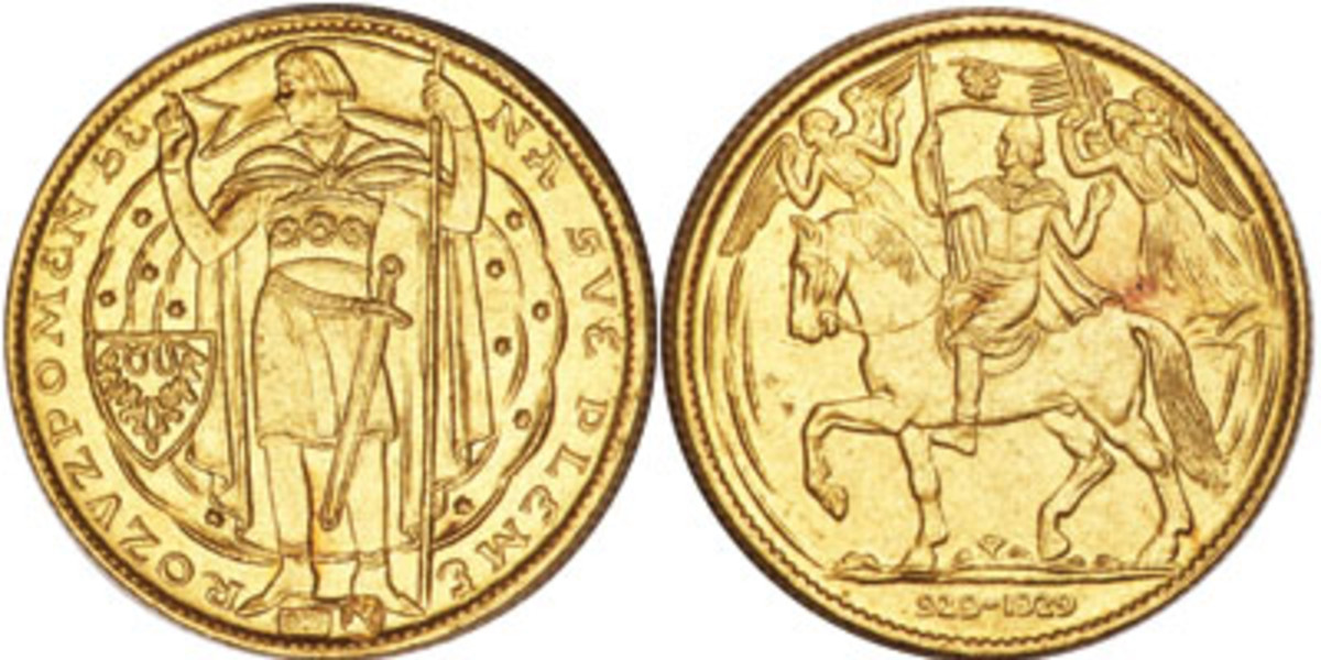 Both the obverse and reverse of the 5 dukáu (KM-XM9) struck in 1929 to mark 1000 years of Czechoslovakian Christianity depict Duke Wenceslas. The founding date is traditionally taken as the date of Wenceslas' death in 929. (Images courtesy www.ha.com)