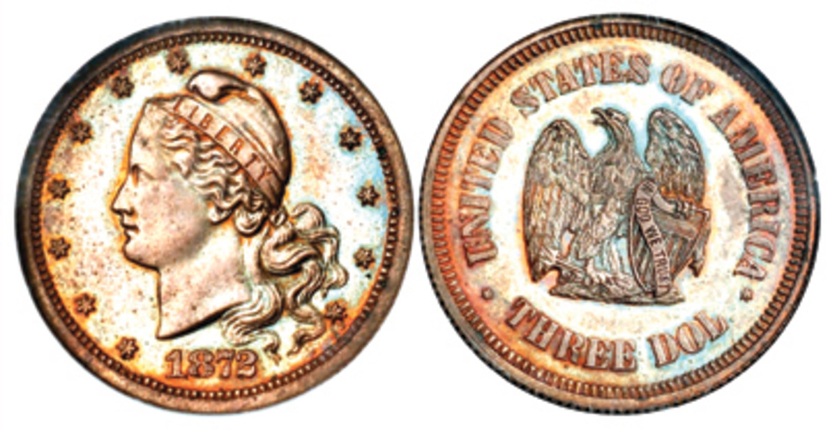 This is an 1872 pattern $3 gold piece (Image courtesy of Stack's Bowers)