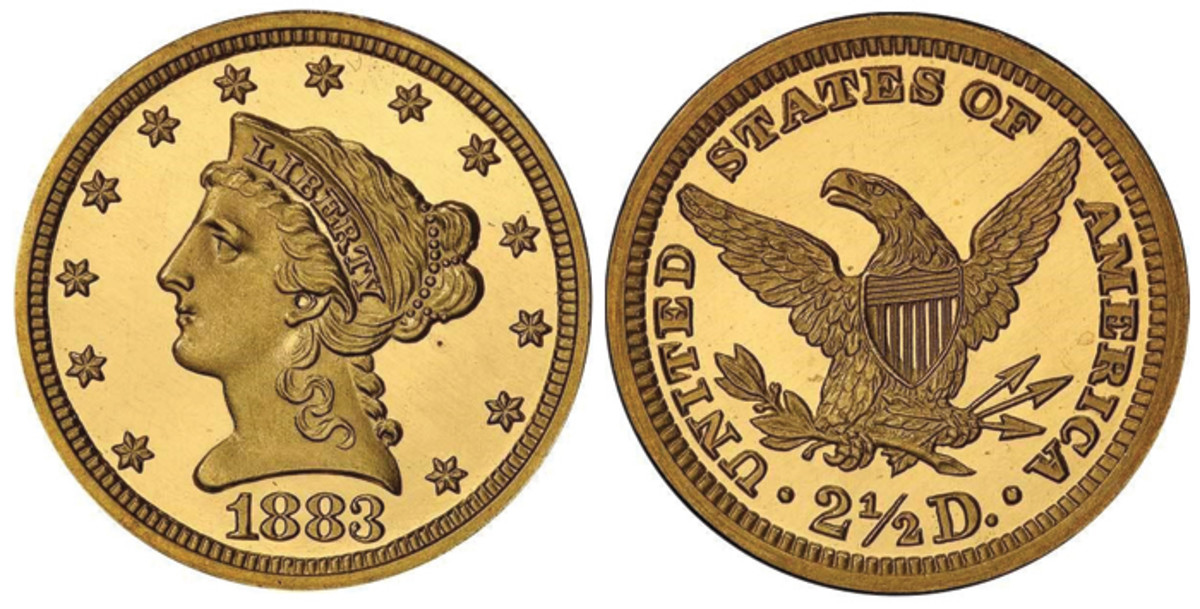 Lot 468. $2.50 1883 PCGS PR66+ DCAM CAC. Of the 82 Proofs originally minted, it is estimated that perhaps 30-35 are known in all grades, with this example being the single finest, graded at PCGS in the DCAM designation. Estimate $40,000+.