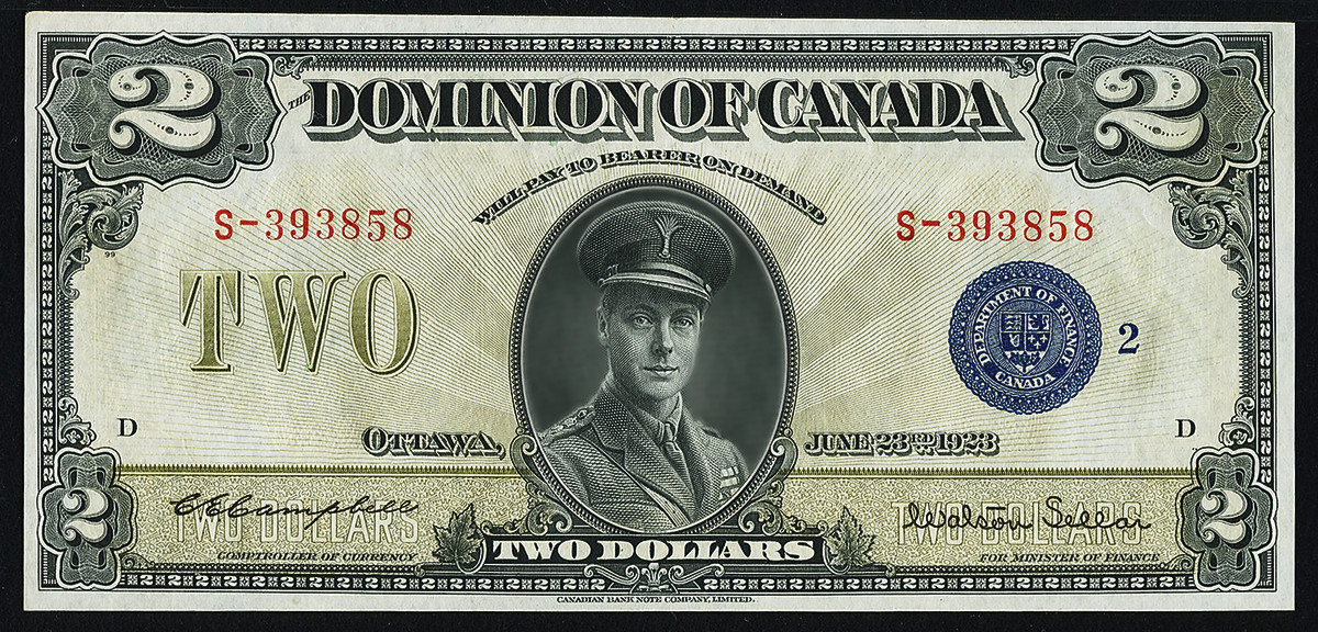 The Man-who-would-not-be-King features on this Dominion of Canada $2 dated 23 June 1923 (DC-26i; P-34i). It is to be offered in a rarely seen PMG Choice Uncirculated 64 EPQ grade. Image courtesy & © Heritage Auctions.