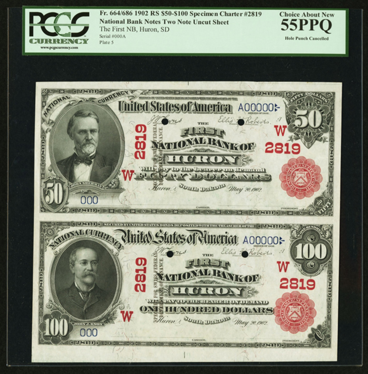 $50/$100 1902 Red Seal sheet on the First National Bank of Huron, S.D. that sold for $152,750.