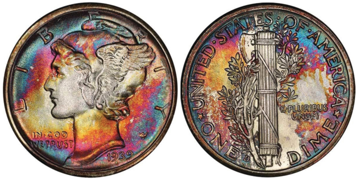 Lot 215. 10C 1939-D PCGS MS69 FB CAC.  While not a rare date, the sheer perfection of this coin ranks it as the king of Mercury dimes.  Estimate $30,000+.