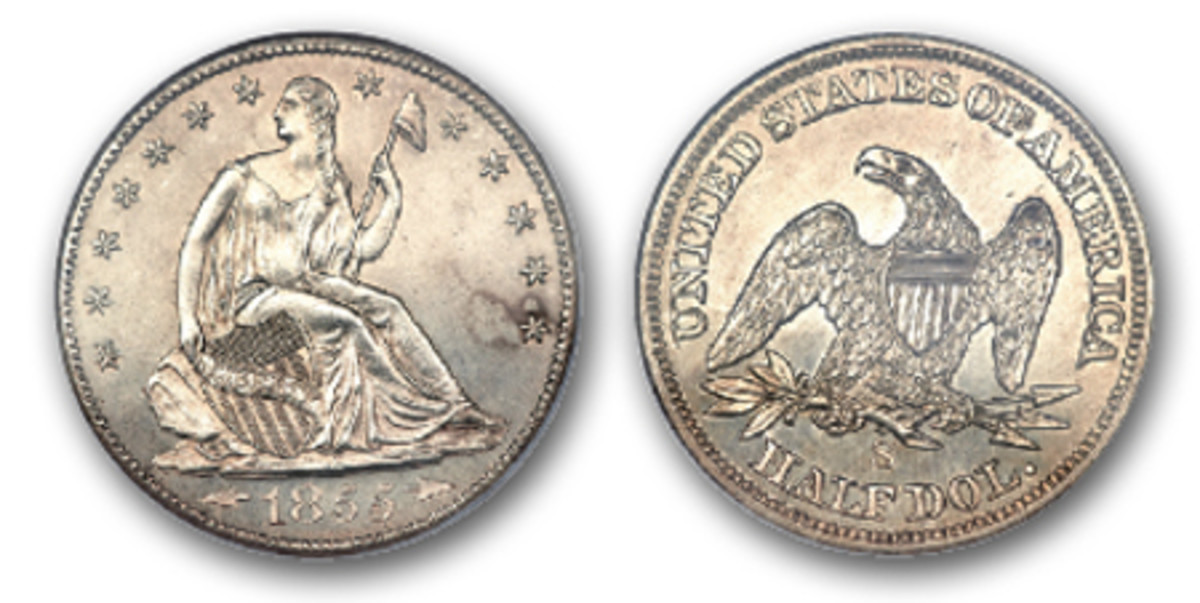 An 1855-S Seated Liberty half dollar with arrows at the year on the obverse. (Image courtesy Heritage Auctions)