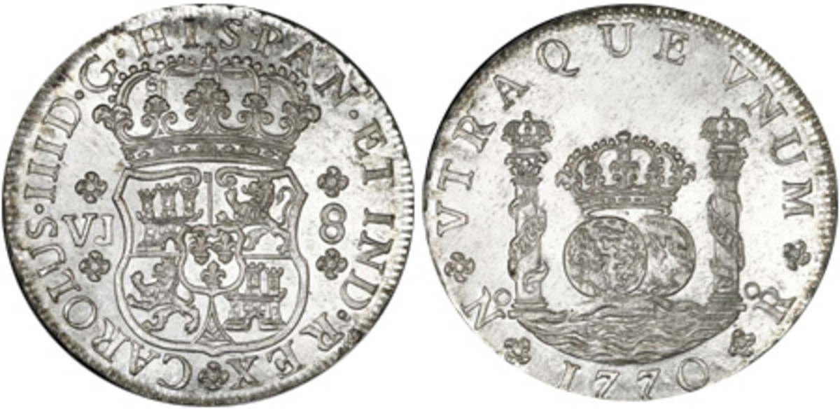A stunning MS-65 example of one of the three issued dates of colonial Pillar 8-reales struck at the Nuevo Reino Mint in what is now Bogota, Colombia. This is the final date, assayer and mint combination of pillar dollars from this mint – 1770 NR VJ.
