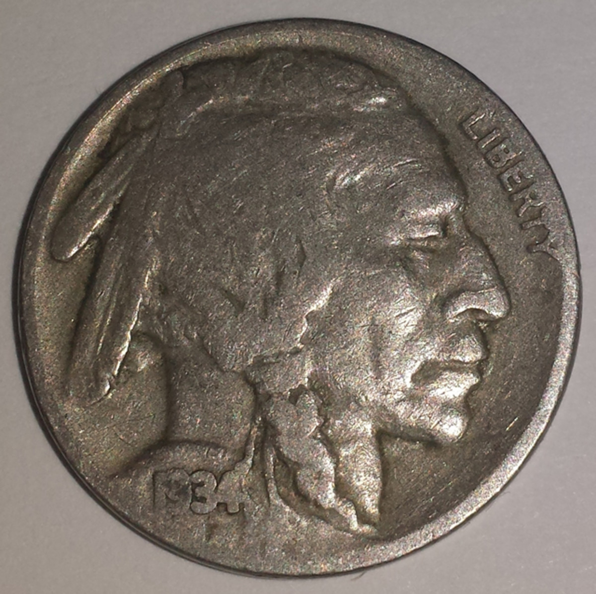 The found 1934 Buffalo nickel.