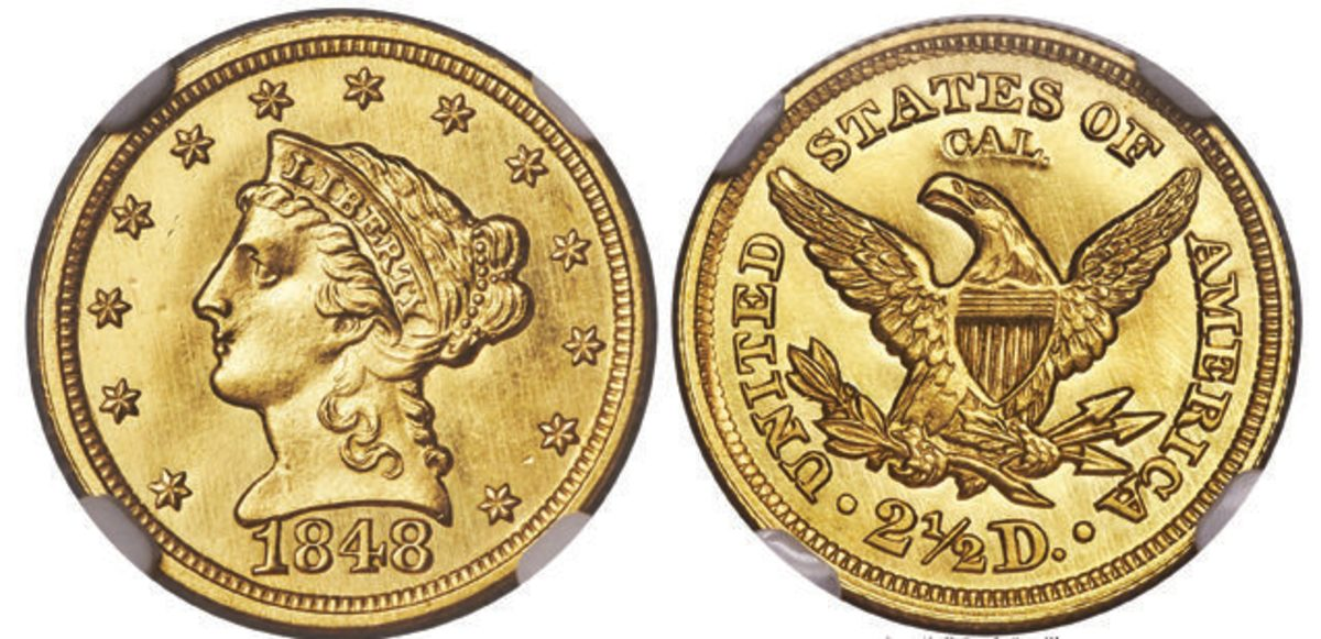 A Gold Rush rarity, this 1848 CAL. quarter eagle graded MS-68 by NGC, hammered at $300,00