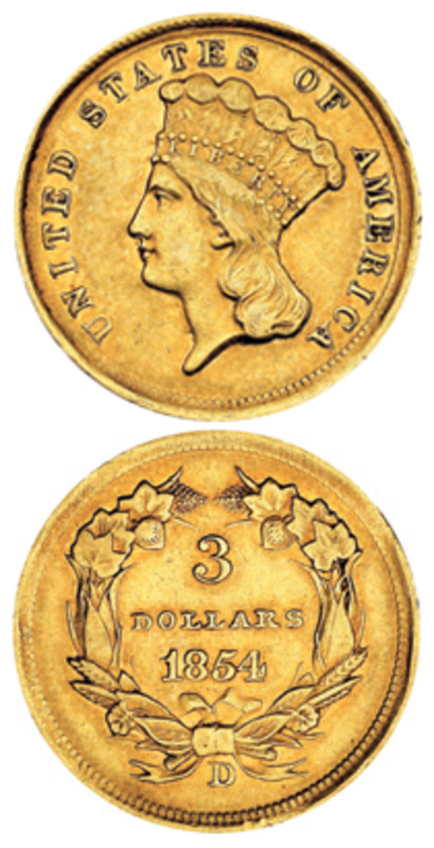 The gold $3 struck at the mint in Dahlonega in 1854 has long been known as a very rare coin. (Image courtesty Stack's Bowers)