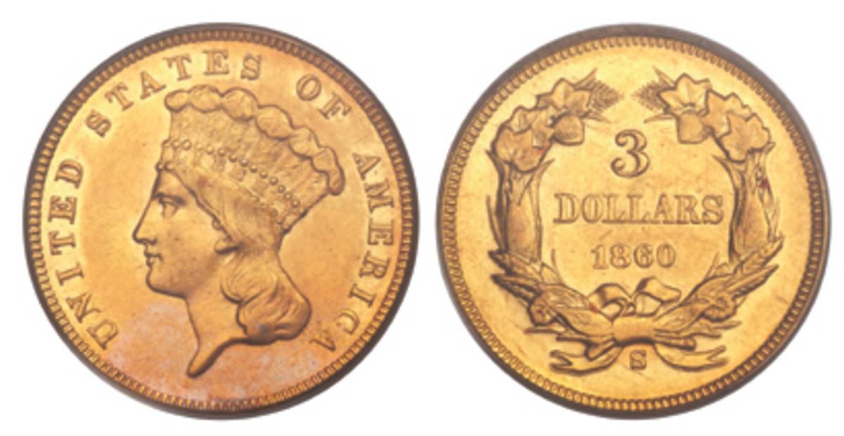 Here is an example of the 1860-S $3 gold piece. (Image courtesy of Heritage)