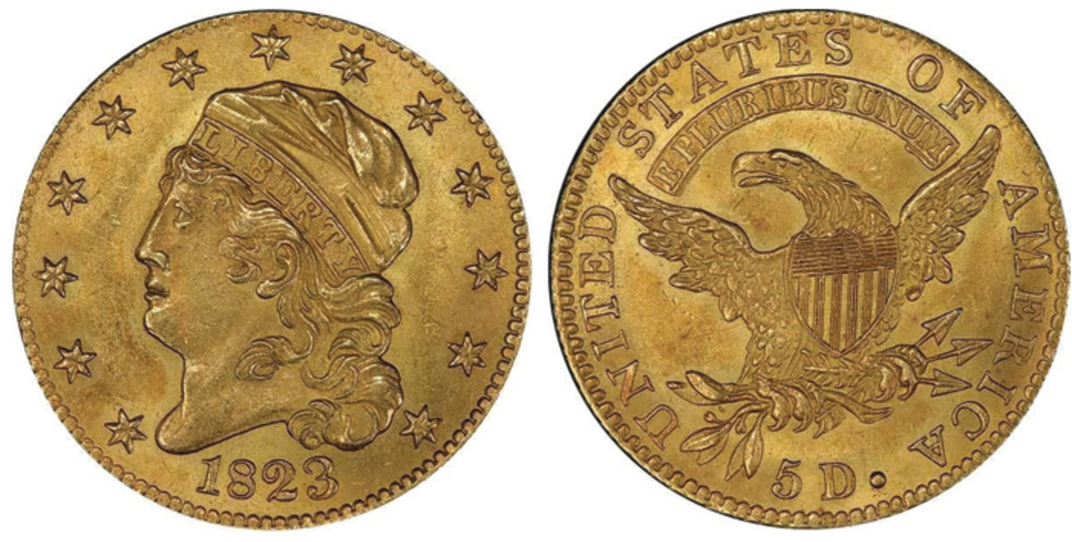 Lot 478. $5 1823 PCGS MS63+ CAC. Stiff bidding is expected to be seen on this lot, which carries an estimate of $67,500+.