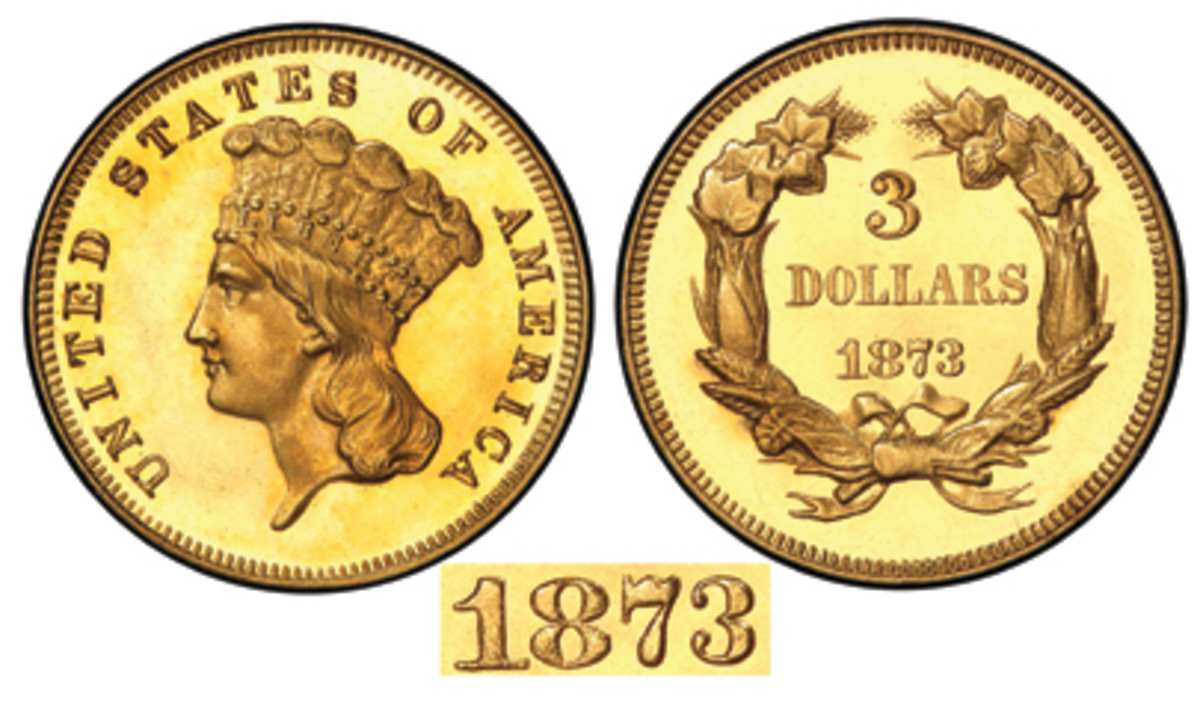 Here is a specimen of an 1873 gold $3 coin with an Open 3 in the date. (Stack's Bowers image)