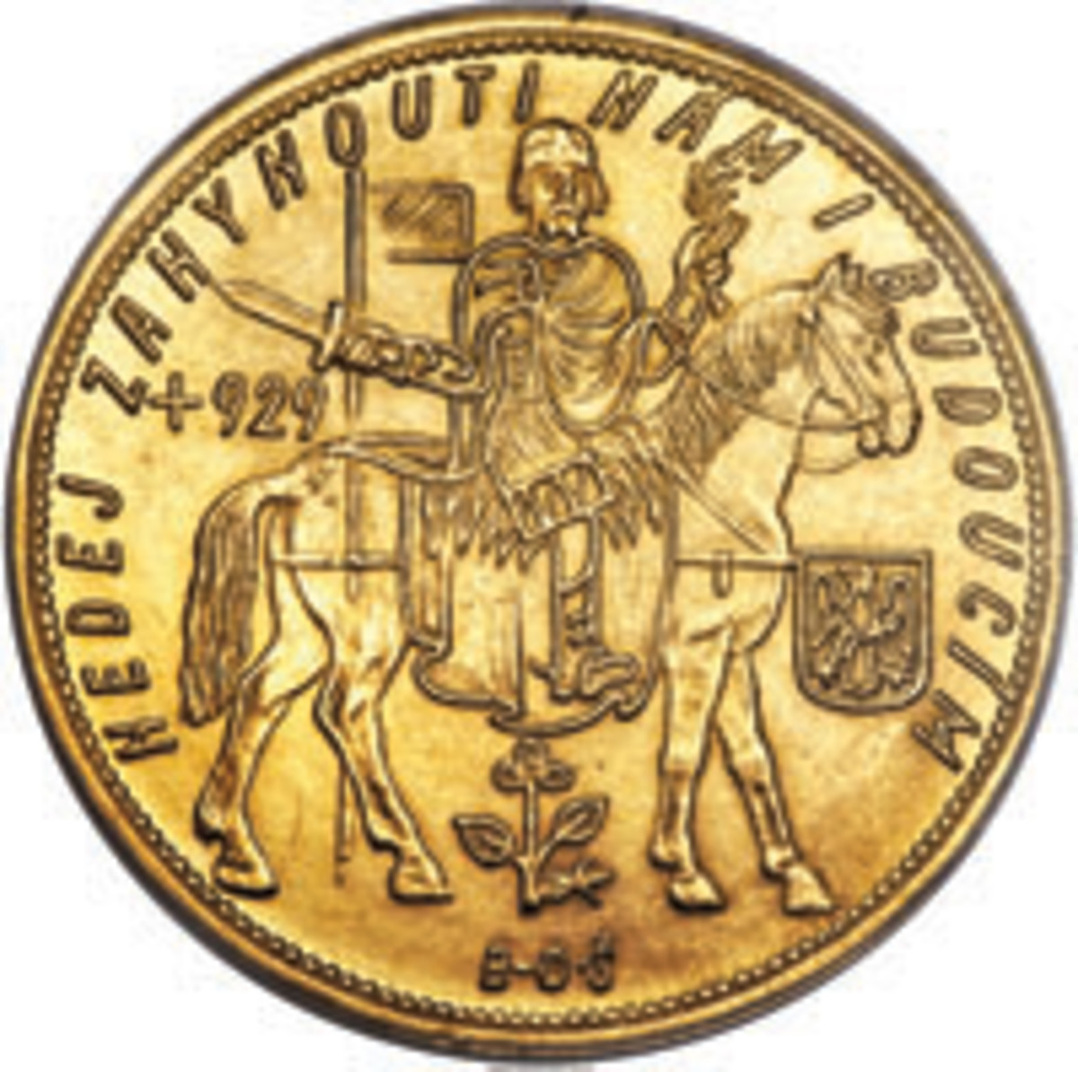 The common reverse of the gold 5 dukátu (KM-13) and 10 dukátu (KM-14) first struck in 1929 feature Duke Wenceslas on horseback. Alongside is his Flaming Eagle coat-of-arms. (Image courtesy Stack's-Bowers)