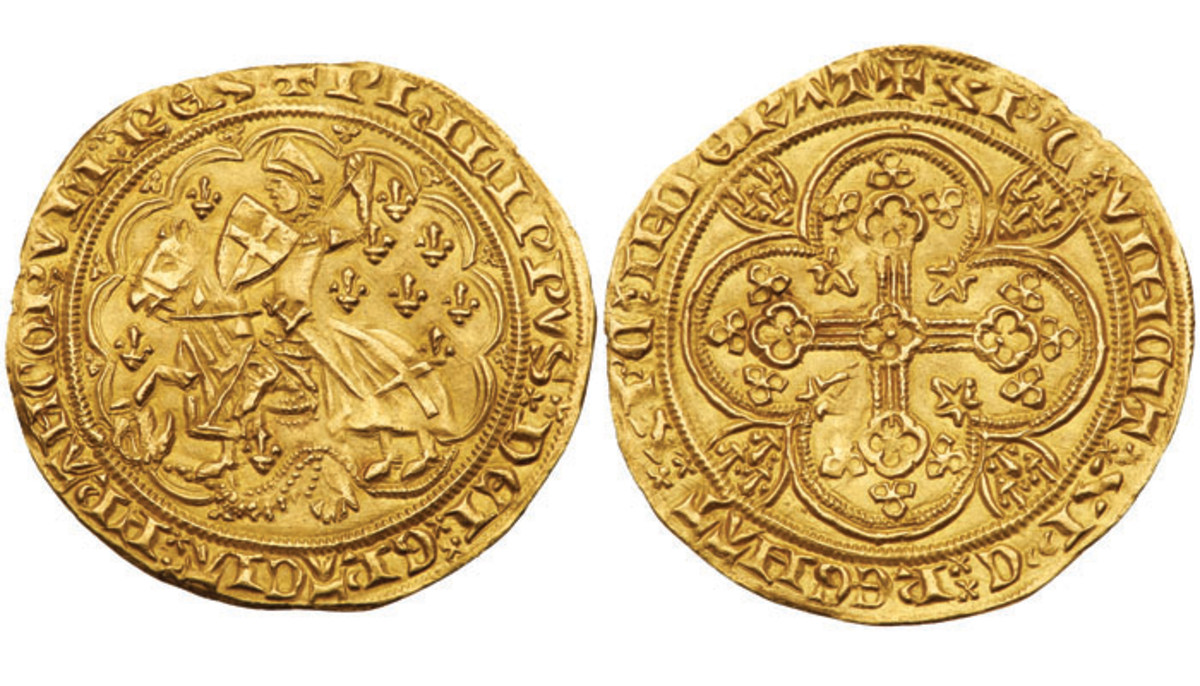 This rare George-Florin of Philippe VI struck in 1346 is one of nearly 400 historic French rare coins in the latest exhibit from the unprecedented Tyrant Collection. Images courtesy of Lyle Engelson/ Goldberg Coins & Collectibles.