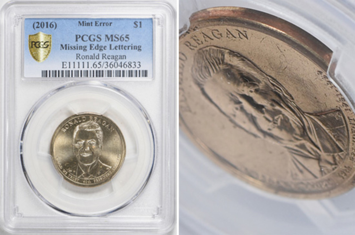 The first known Ronald Reagan plain edge dollar error is featured in a GreatCollections.com online auction, which will end Jan. 20.