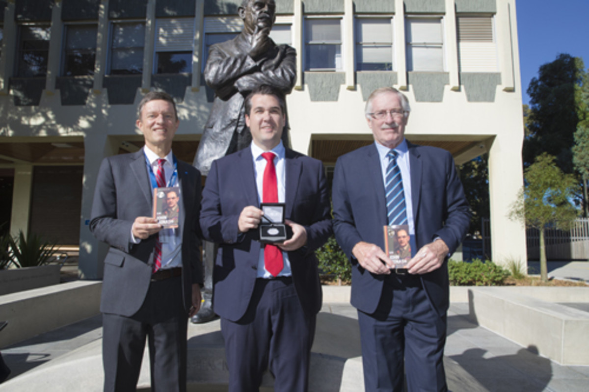 Professor Marc Parlange (provost and senior vice president at Monash University), Michael Sukkar MP (assistant minister to the Treasurer) and Ross MacDiarmid (CEO of the Royal Australian Mint) launch the new Sir John Monash commemorative coins. (Image courtesy & © RAM)
