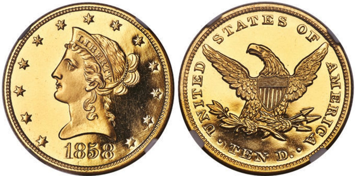 An 1858 proof Liberty eagle gold coin, graded PR-64 Ultra Cameo by NGC, was the top lot of the U.S. Coins portion of Heritage Auctions' Central States Auction. It commanded $480,000