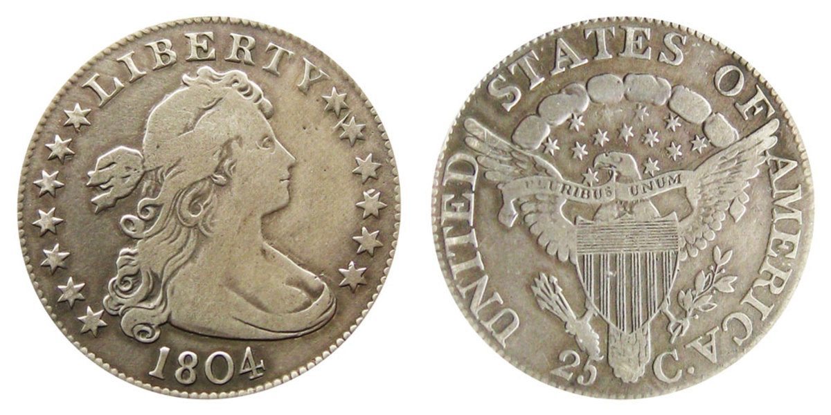 The Draped Bust quarter of 1804 is the second year of the U.S. quarter after an 8-year lapse in production. (Image courtesy of usacoinbook.com)