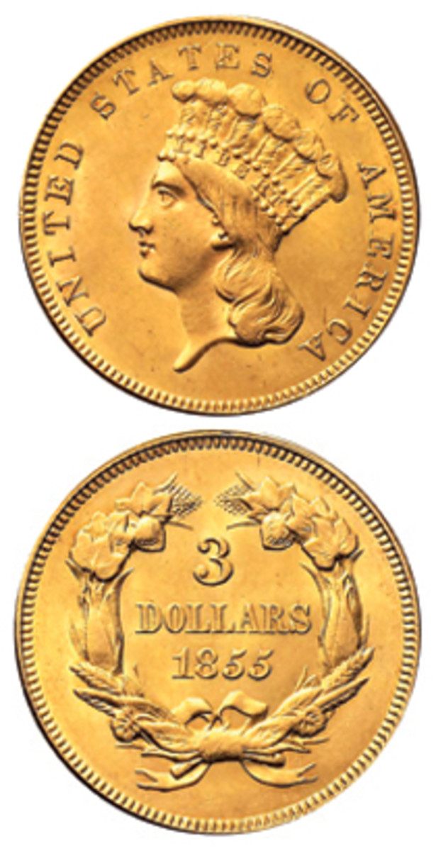 In 1855, the word DOLLARS on the reverse was made larger. (Stack's Bowers image)