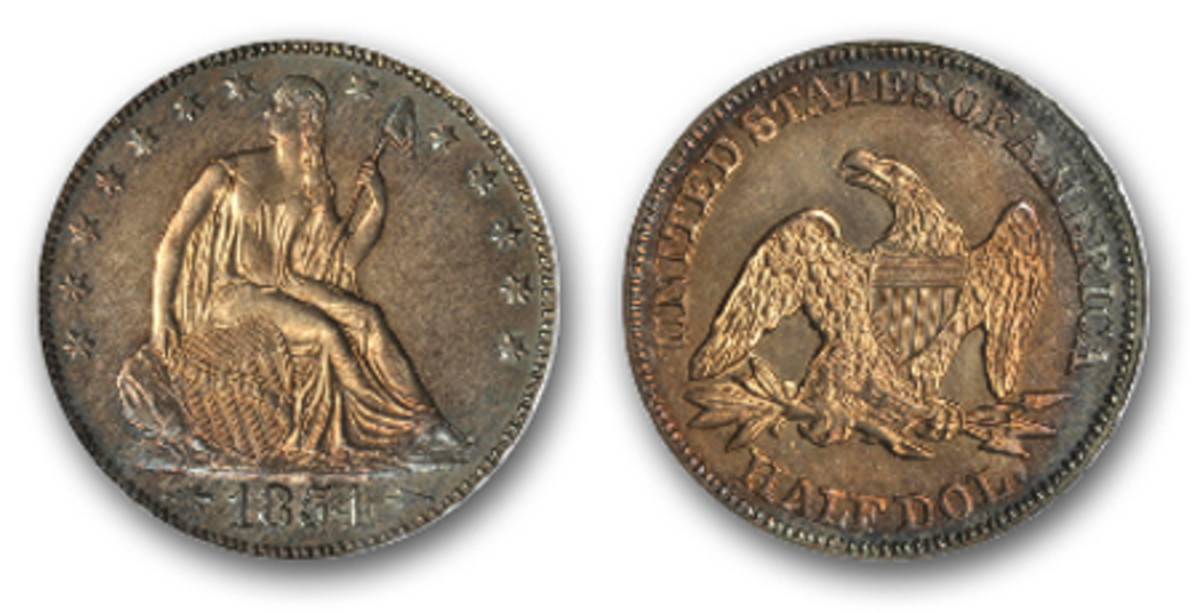 1854 Seated Liberty Half Dollar Proof-64 with arrows flanking the year and a striking coppery-russet gold tone at the center of the coin. (Image courtesy Stack's Bowers)