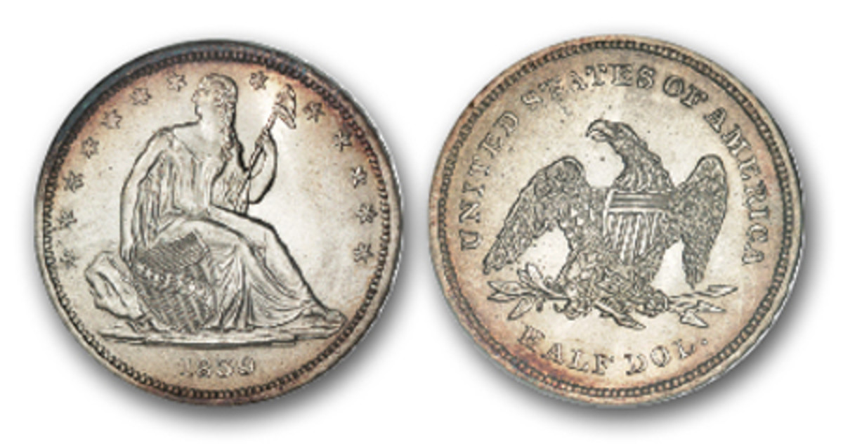 Not only is this 1839 MS-65 a first issue Seated Liberty half, but it also belongs to the limited ranks of the 'No Drapery' halves, which is a subtype of the one-year series. (Image courtesy Heritage Auctions)