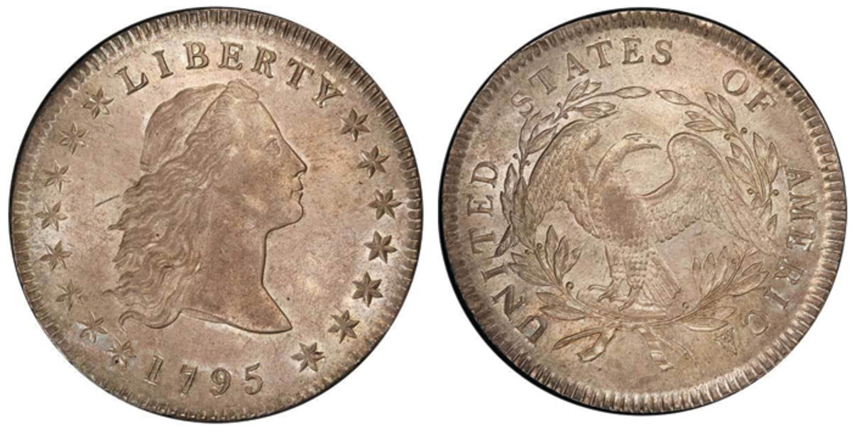 Lot 331. $1 1795 3 LEAVES. PCGS MS64 CAC.  Boasting superb numismatic quality, this coin also has the most famous provenance in American numismatics: Louis Eliasberg.  Estimate $300,000+.