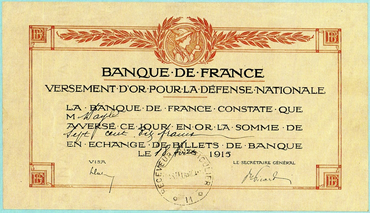 1915 Gold Exchange Certificate issued to Bayle's grandfather.
